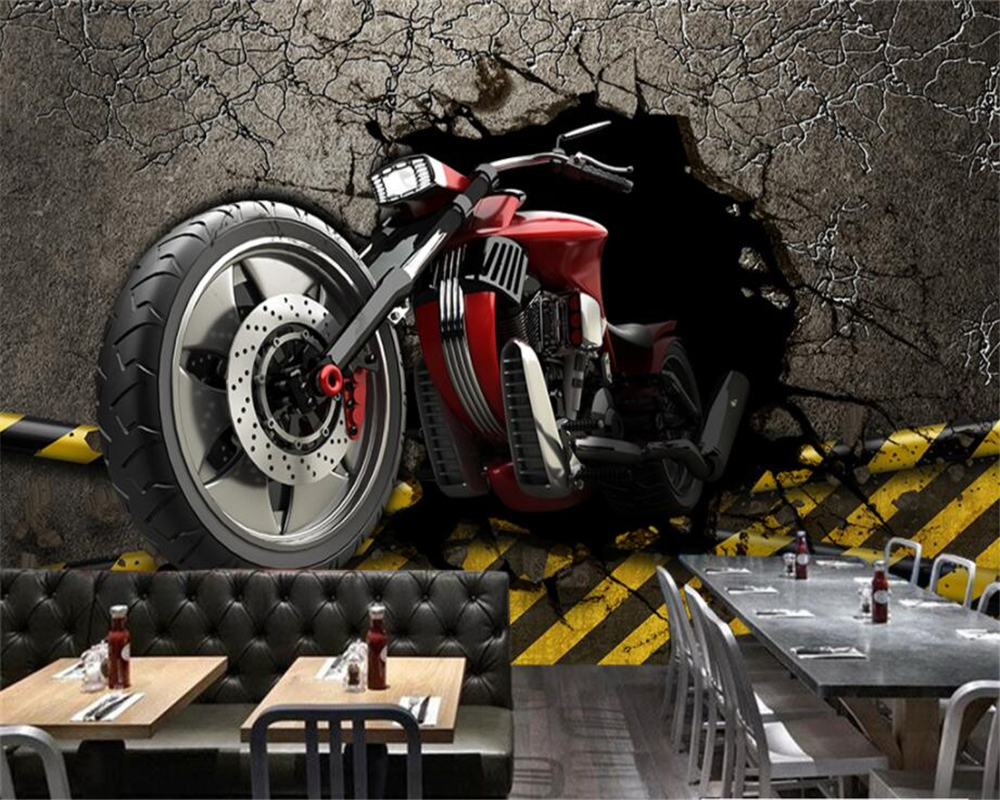 Beibehang Custom wallpaper 3D broken wall motorcycle European style retro wallpaper background wall murals 3d wallpaper photo beibehang custom european victoria photo