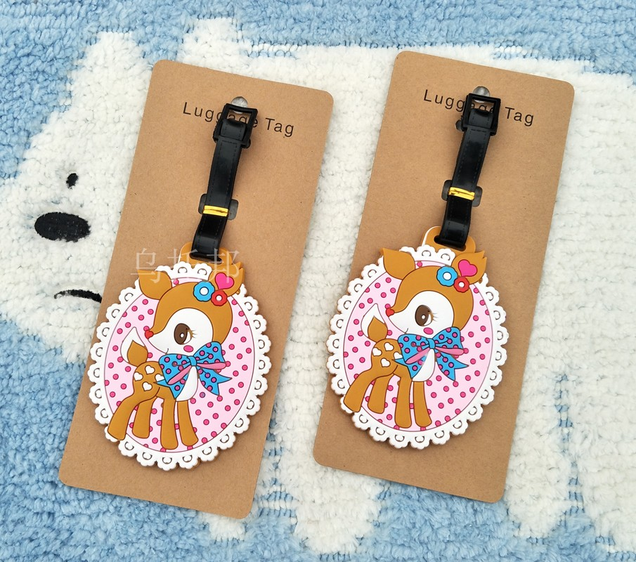 Travel products lovable deer, speckled spot luggage tag, billboard identification card, hanging tag, schoolbag ornaments