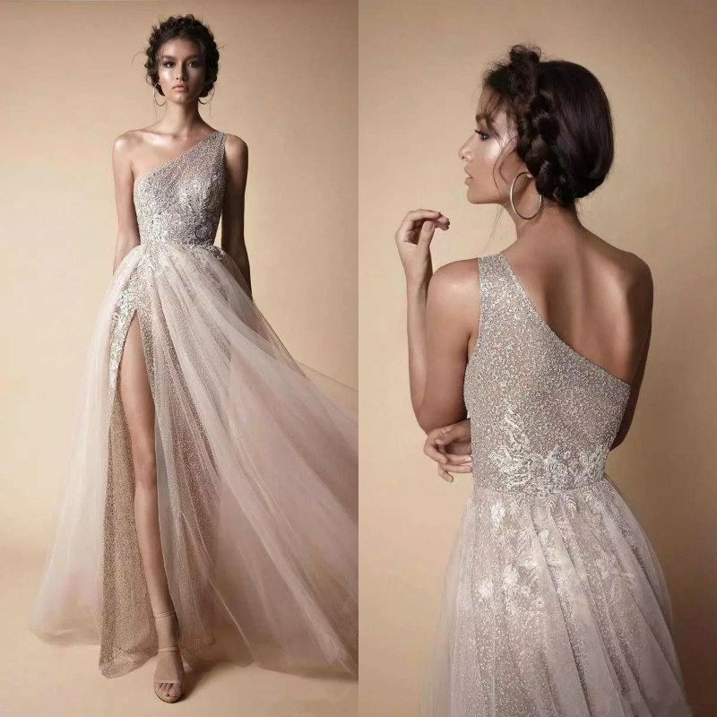 2019 One Shoulder Prom Dresses Elegant Tulle Lace Long Split Floor Length Formal Evening Dresses Party Wear vestidos de fiesta