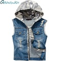 Camouflage Hat Man Vest Denim Fabric Hole Design Men Vest Frayed Vintage Male Jeans Waistcoat Zipper Pockets M - 2XL,PA072
