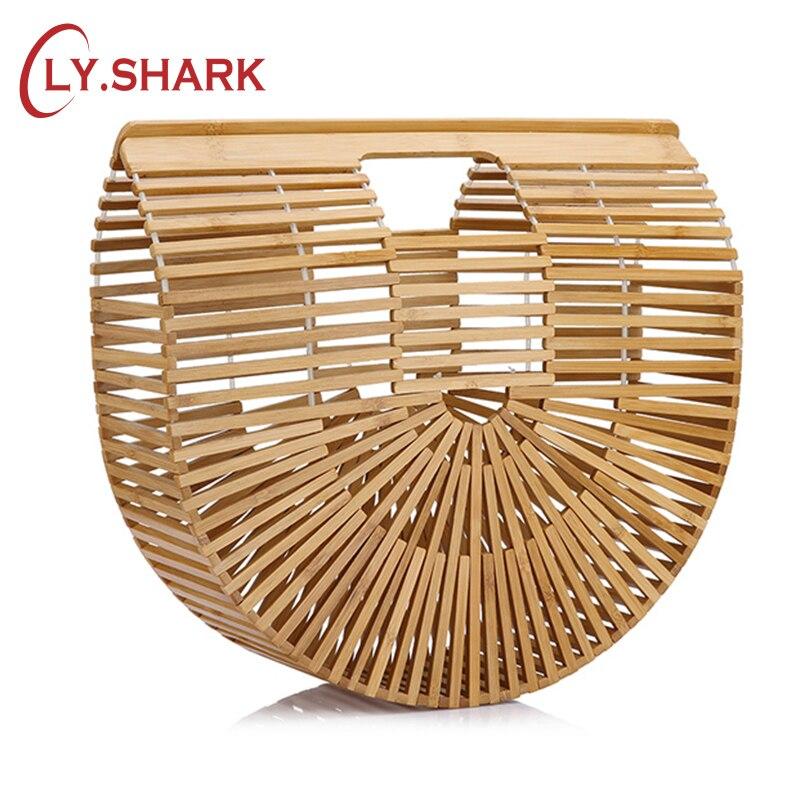 LY.SHARK Ladies Beach Bag Fashion Ladies Bamboo Bags Womens Bamboo Handbag Summer Female Purse Handmade Woven Beach Bag