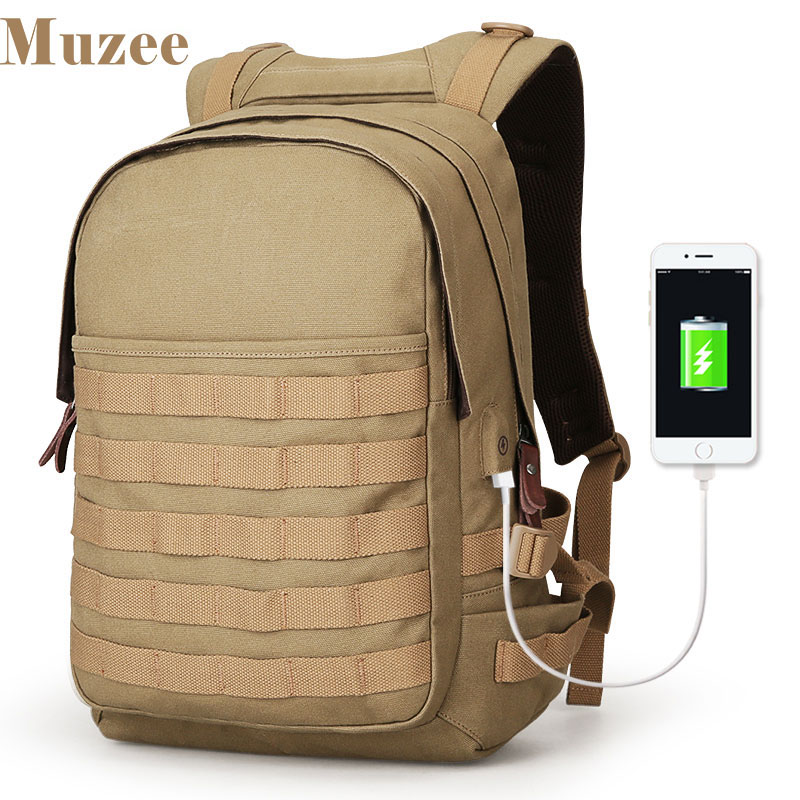 Muzee New Canvas USB Charging Tactical Backpack Military Assault Backpack 3 Day Molle Rucksack High Capacity Bag lqarmy 3 day expandable backpack with waist pack large rucksack tactical backpack molle assault bag for day hiking tan