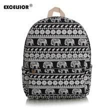 Excelsior печати холст рюкзак Для женщин Симпатичные Слон школы Рюкзаки для подростков Обувь для девочек Винтаж сумка для ноутбука рюкзак Bagpack
