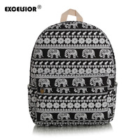 EXCELSIOR Canvas Printing Backpack Women Cute Elephant School Backpacks For Teenage Girls Vintage Laptop Bag Rucksack