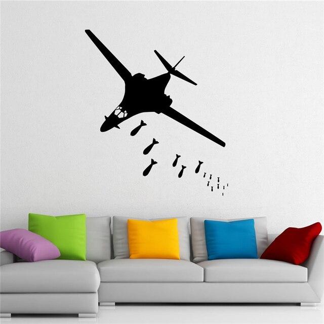 Bomber Wall Decal Aircraft Vinyl Sticker Aircraft Housewares Home Decor  Aviation Wall Sticker