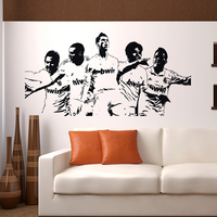 Free Shipping Wall Stickers Wholesale And Retail Wall Decor PVC Material Decals Wallpaper Football Star World