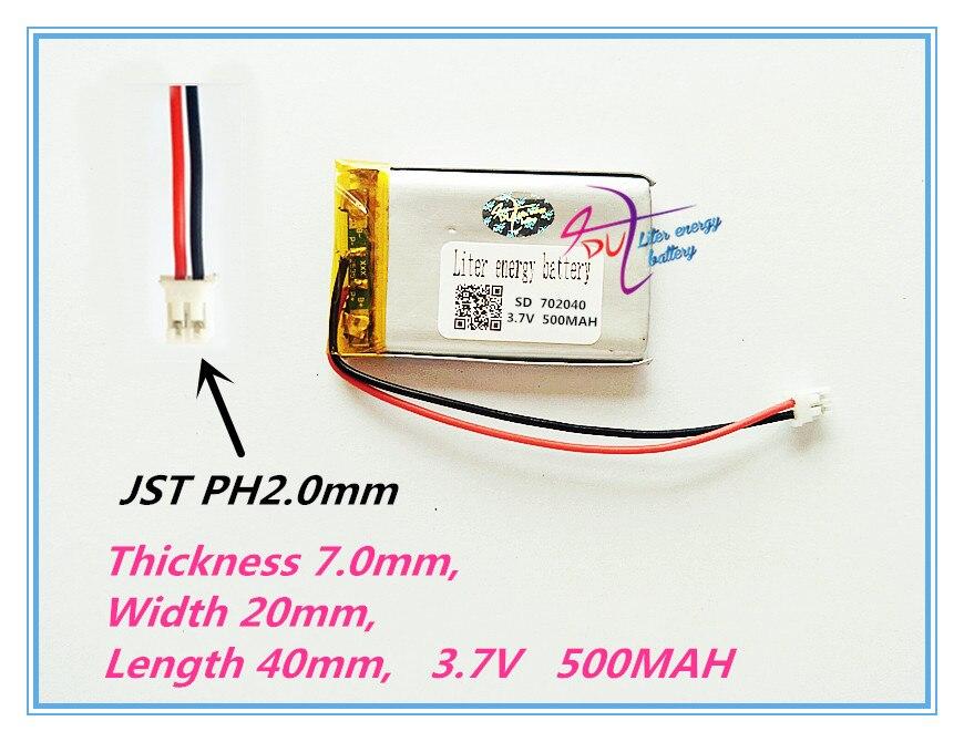 XHR-2P 2,0 702040 3,7 V 500mah polímero de litio recargable la batería de la tableta con tablero de protección para Google Project Glass