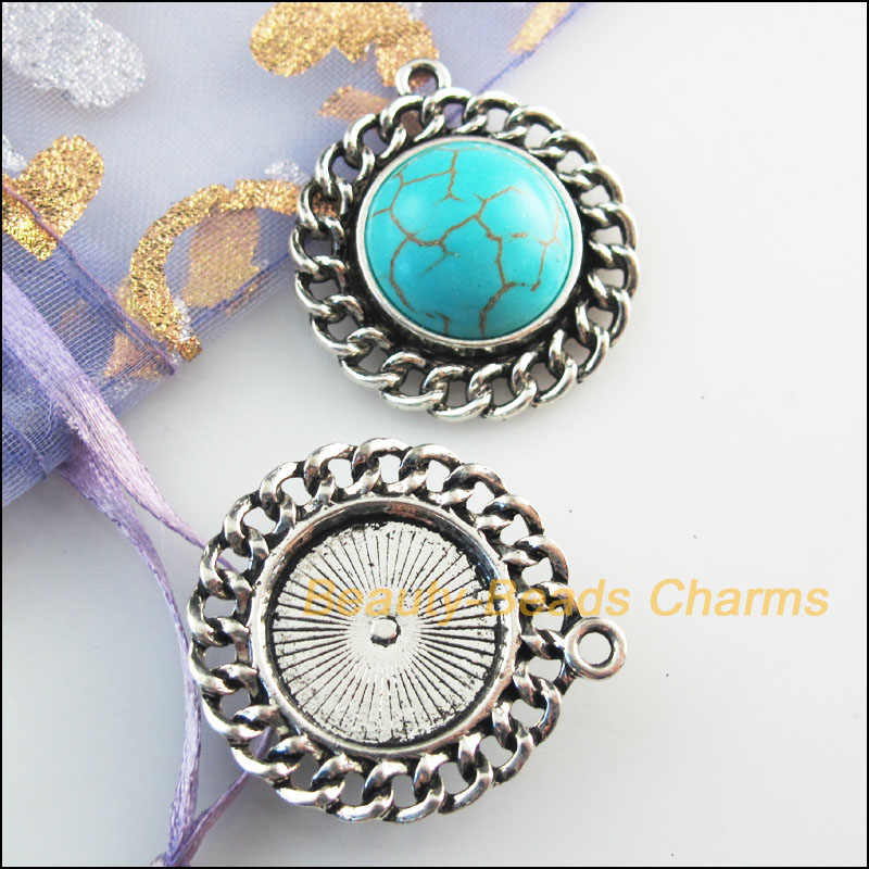 2 New Retro Charms Tibetan Silver Tone Stone Round Flower Pendants 28x31mm