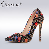Odetina 2018 New Fashion Women Embroider Floral Heels Elegant Pointed Toe Pumps Stiletto High Heels Party