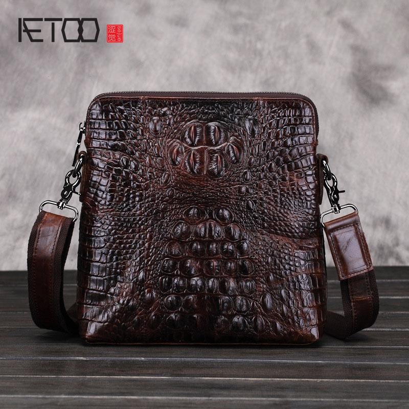 AETOO new genuine leather bag leisure alligator leather messenger bags men business bag shoulder bags
