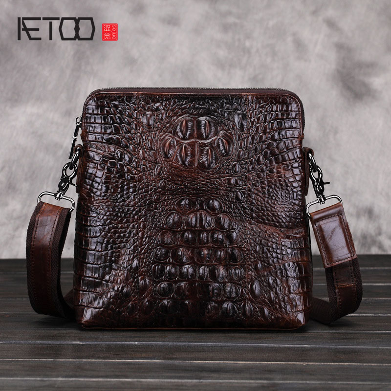 AETOO new genuine leather bag leisure alligator leather messenger bags men business bag shoulder bags 2017 new brand crocodile genuine leather men travel bags leisure laptop solid men shoulder bag business men messenger bags a1368