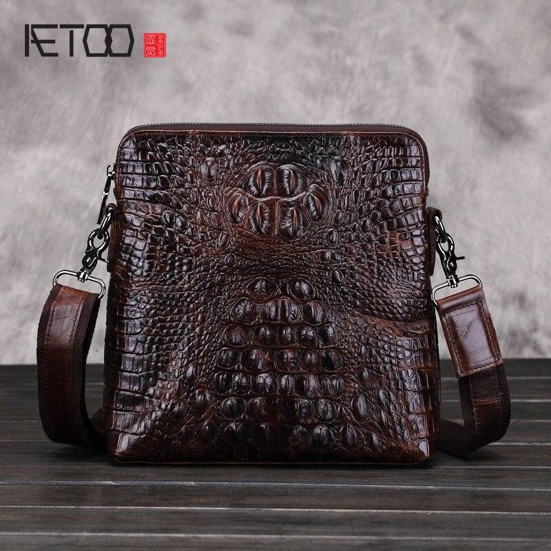 AETOO nouvelle véritable sac en cuir loisirs alligator en cuir messenger sacs hommes d'affaires sac d'épaule sacs