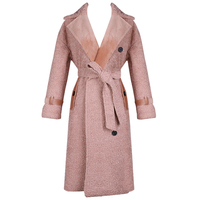 [OL] 2017 Autumn Winter New Wool Pink Suede Full Sleeve Thicker Loose Casual Plus Size Overcoat Trench Cotton Women's Z563