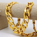 Mens Hip Hop Necklace Gold Color Cuban Chain Two Size Availabel Mens Iced Out Jewelry High Quality Lower Price Necklace Set