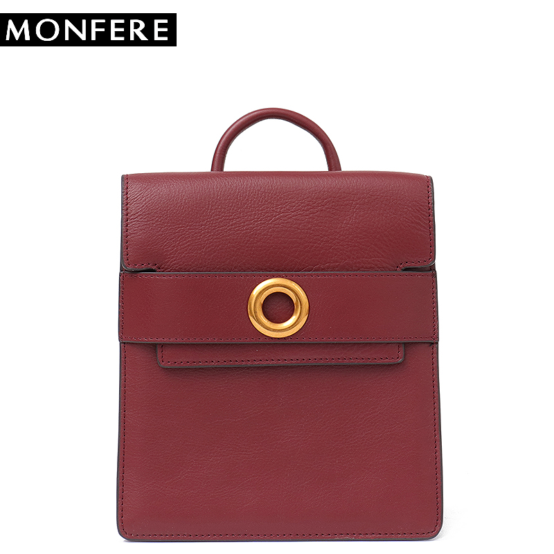 MONFERE Brand Vintage Genuine Leather Mini Fashion Backpack School Bag for Girls Flap Shoulder Pack sack Cowhide Flap Hasp Bags цены онлайн