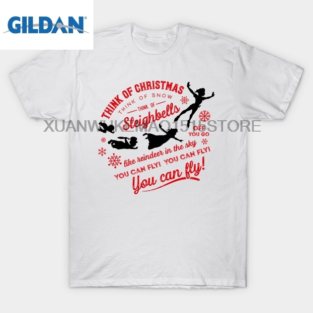 GILDAN 100% cotton O-neck printed T-shirt Think of Christmas - Peter Pan inspired You Can Fly T-Shirt