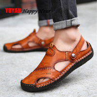 100% Genuine Leather Sandals Men Summer Shoes Mens Beach Sandals Flat Non slip Man Summer Slippers Cow Leather Male Shoes KA753