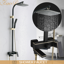 FAOP Shower Faucets black faucet for bathroom mixer waterfall shower rain shower set bathroom faucet mixer цена в Москве и Питере