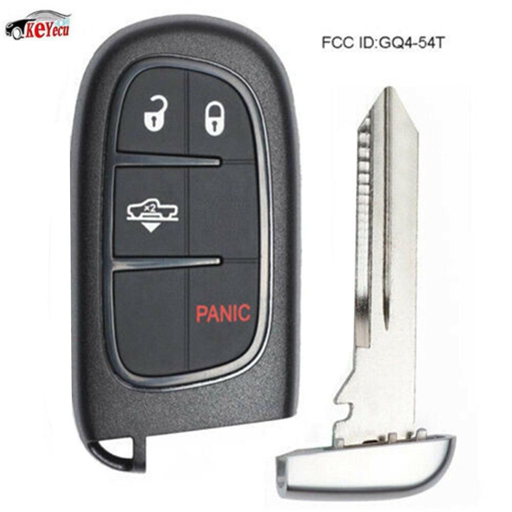 KEYECU démarrage à distance Smart voiture clé Fob 4 bouton 433 MHz ID46 puce pour Suspension pneumatique Ram 1500, 2500, 3500 GQ4-54T