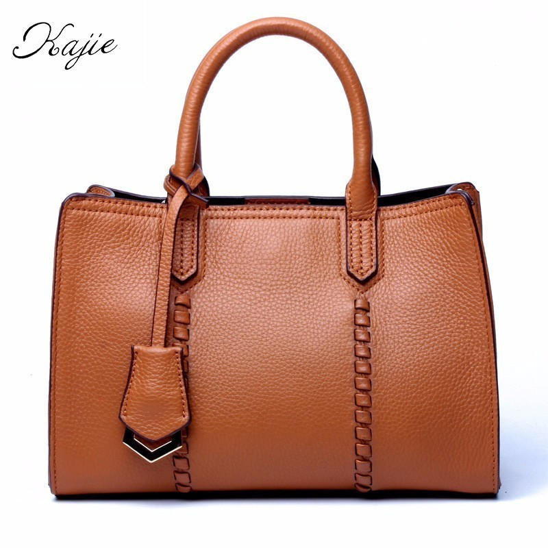 Kajie Ladies Messenger Bag Designer Genuine Leather Luxury Women Handbags Famous Brands Crossbody Bags Brown Blue High Quality chispaulo women genuine leather handbags cowhide patent famous brands designer handbags high quality tote bag bolsa tassel c165