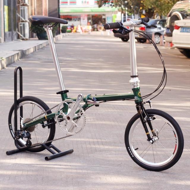 "Chrome Steel Folding Bike 16""  Minivelo Mini velo Bike Urban Commuter Bicycle with V Brake Foldable 9 Speed Fnhon Post Green"