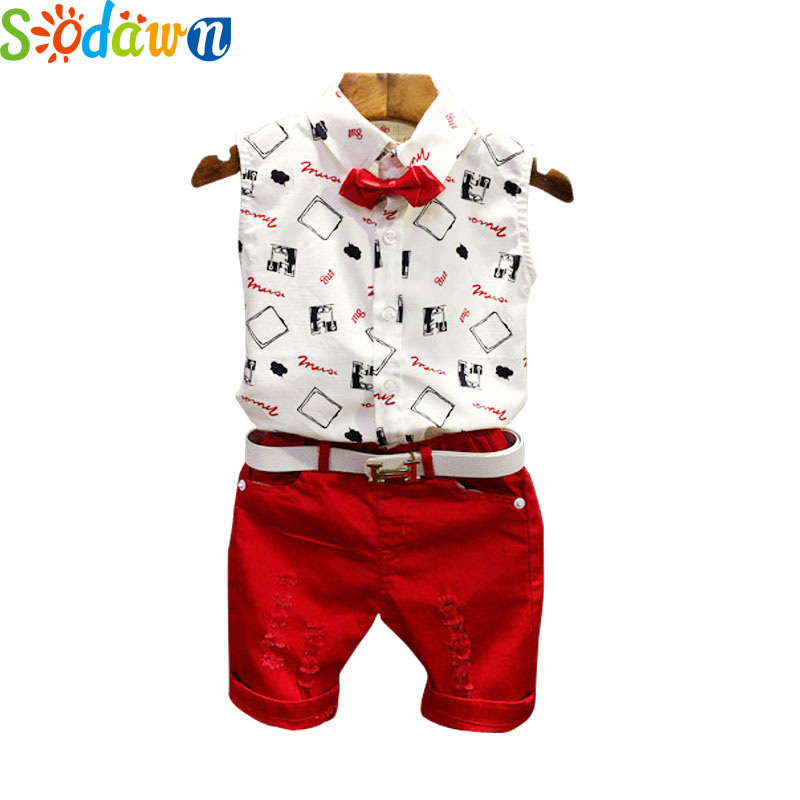Sodawn Summer 2017 New Casual Boy Clothes Set Short Sleeve White T-Shirt + Red Pant  Suits Boys Clothing Sets Kids Clothing