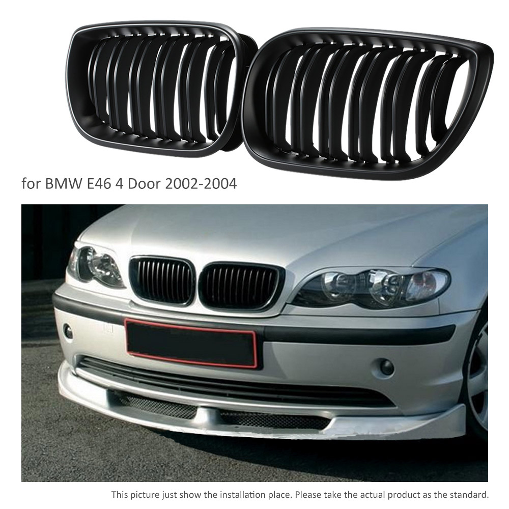 One Pair Car Matte Black Front Grille Grilles For BMW E46