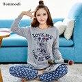 Cotton Pajamas Woman Long-sleeve Sleepwear Cotton Anime Cute Nightclothes Ladies Pyjamas