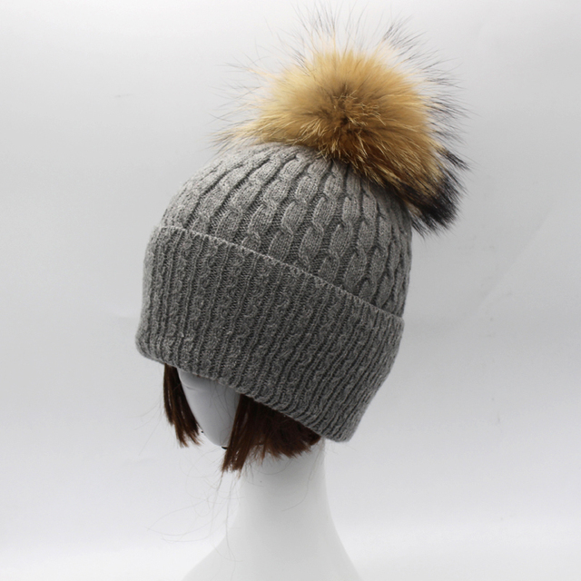 High Quality Women Winter Cashmere Hats 15cm Real Raccoon Fur pom poms Beanie Hat Fur Ball Cap