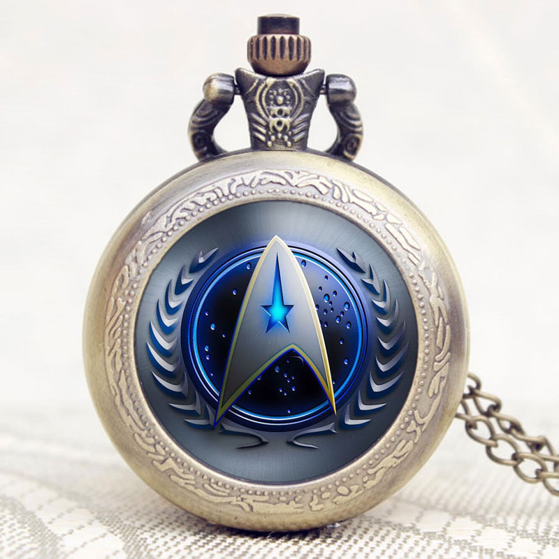 Star Trek Theme Blue Glass Dome Case Bronze Quartz Pocket Fob Watch with Sweater Pendant Necklace Chain for Women Girls concise and cute bronze star pendant necklace