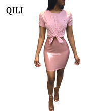 QILI Women Two Piece Set PU Dress O-Neck Short Sleeve Beaded Bow Lady Leather 2 Bodycon High Street Vestidos