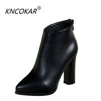New winter 2018 chunky women's short boots with high heel Martin boots waterproof platform single boot top plush nude boots