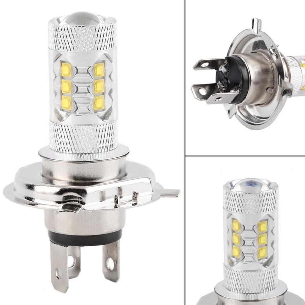 New 12V H4 80W 6000K 1600-2000LM Super Bright LED White Fog Turn Head Car Light Lamp Bulb Fog Disable Auto Head Lamp Light Bulb 80 1600