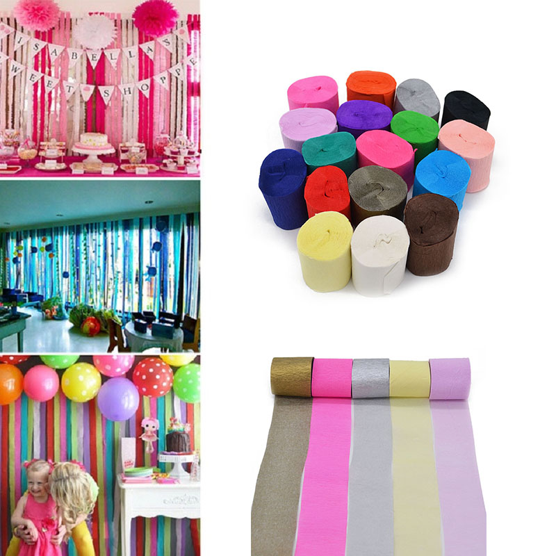 10m Crepe Paper <font><b>Streamers</b></font> Roll DIY Photography Backdrops Wedding Supplies Birthday Party Baby Shower Decorations Background