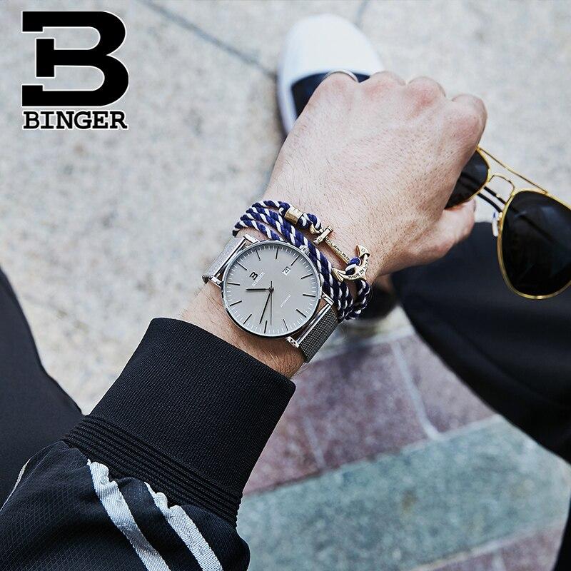 Suisse BINGER montres hommes mode Relogio Masculino étanche automatique Seiko mouvement mécanique montre bracelet reloj hombre-in Montres mécaniques from Montres    3