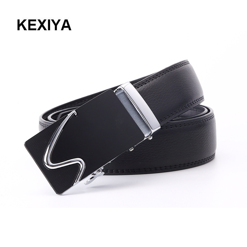 KEXIYA 2017 designer men belt luxury high quality metal automatic buckle black leather belt mens jeans fashion casual belt