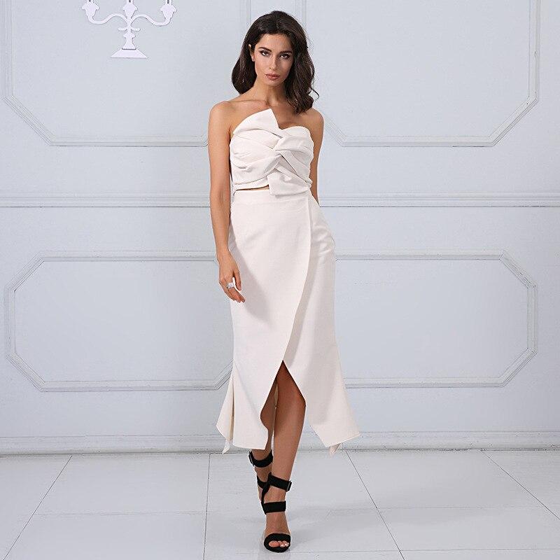 2018 sexy femmes robe offre spéciale mode sans bretelles évider dos nu fente boîte de nuit célébrité corps con robes en gros