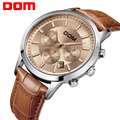 DOM men's watch large dial multifunctional sports waterproof genuine leather strap men's watches MS301L