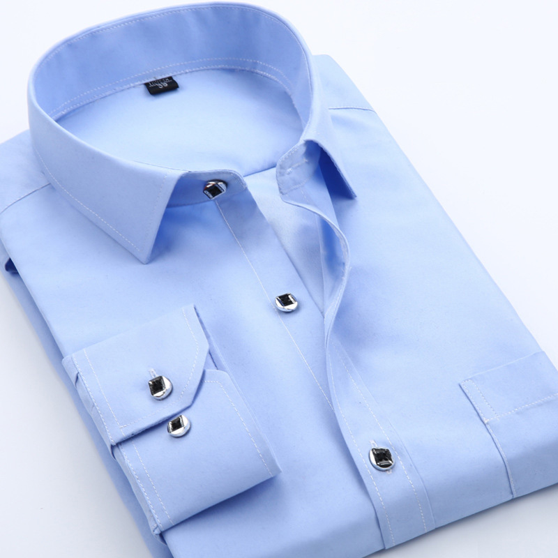 Men shirt 2017 New spring fashion solid shirts men slim fit long-sleeved cotton Business ...