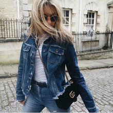 Try Everything Vintage Cotton Denim Jackets For Women Slim Ripped Jeans Jacket Women Solid Casual Coat Female
