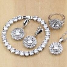 925 joyería de plata zirconia cúbico blanco Juegos de joyería para las Mujeres Partido Pendientes/colgante/Collar/Anillos/pulsera