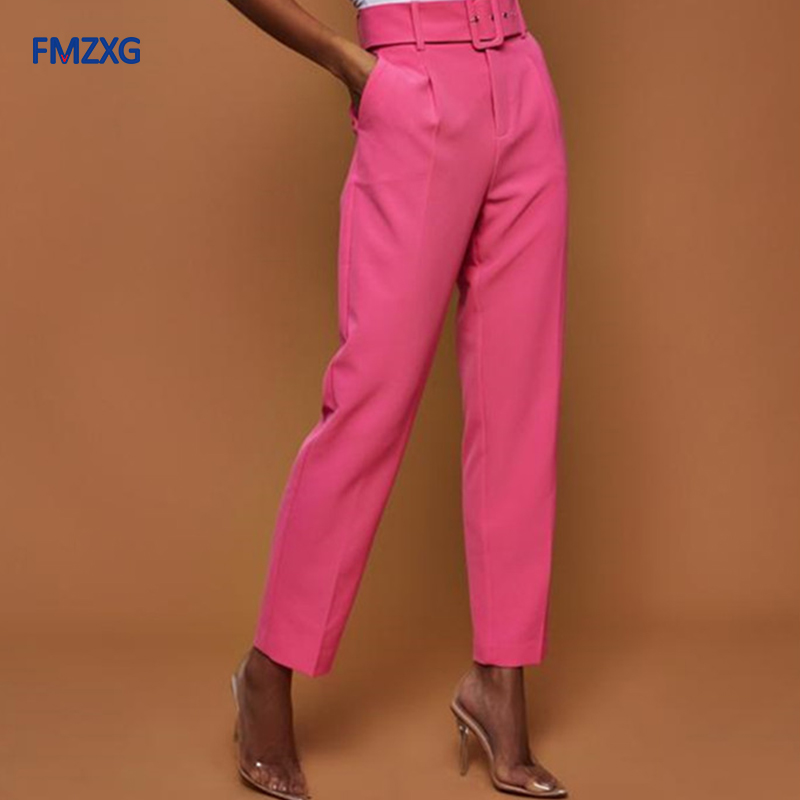 Women Autumn Harem Pants Formal Ankle-length Trousers Candy Colors Female Classic High Waist Office Lady Sashes Slim White Pants