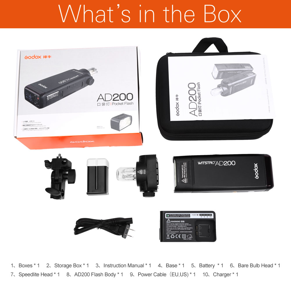 Image 2 - Godox AD200 200Ws 2.4G TTL Flash stroboscope 1/8000 HSS sans fil Monolight avec batterie Lithimu 2900 mAhClignote   -