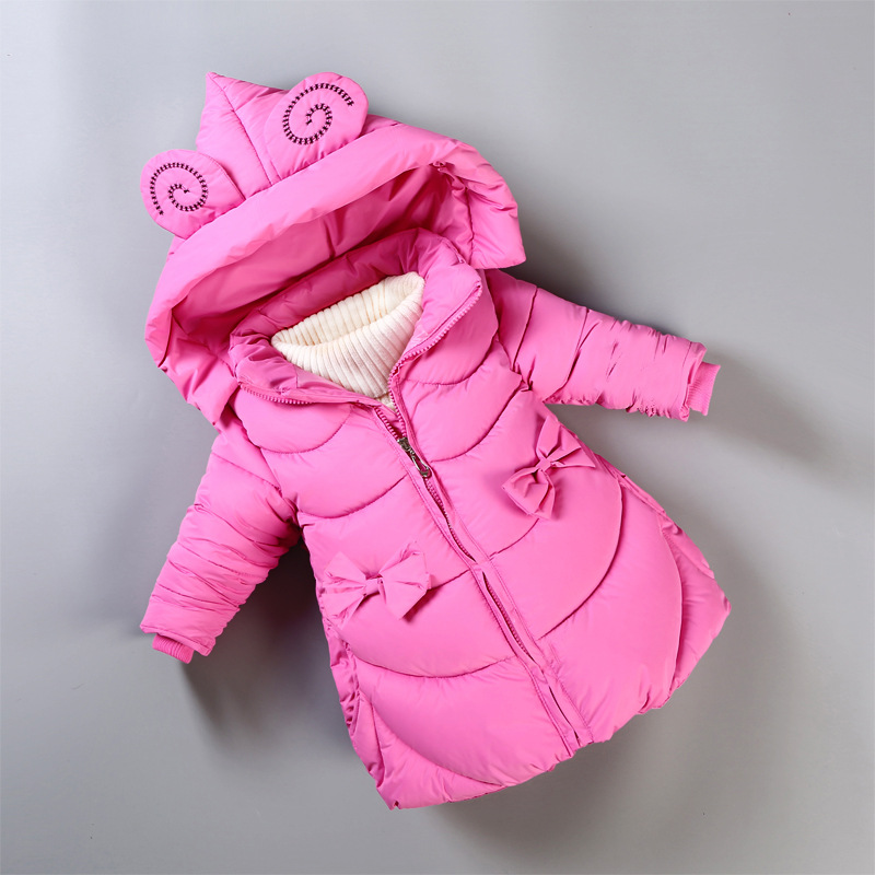 BibiCola Girls Jackets Winter Fashion Down Jacket For Girls Hooded Cartoon Coat Kids Thicken Clothes Toddler Sports Outerwear цена