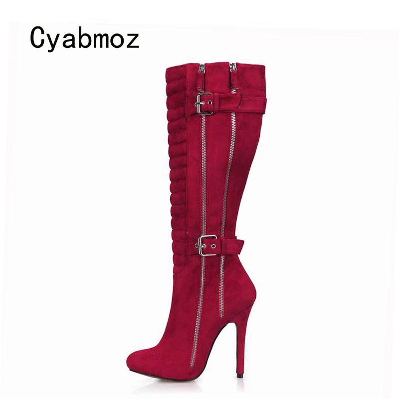 Cyabmoz Sexy Knee High Heels Winter Boots Women Shoes Woman Zip Buckle Ladies Wedding Dress Shoes Zapatillas Botas Zapatos Mujer