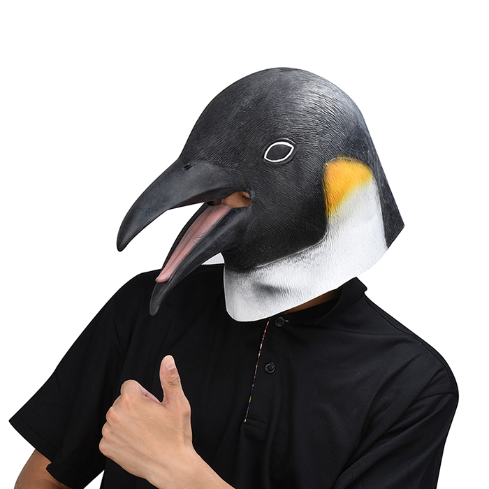 Look Up the Penguin Head Masks Adult Realistic Animal Latex Mask Halloween Cosplay Props Party Fancy Dress Toys