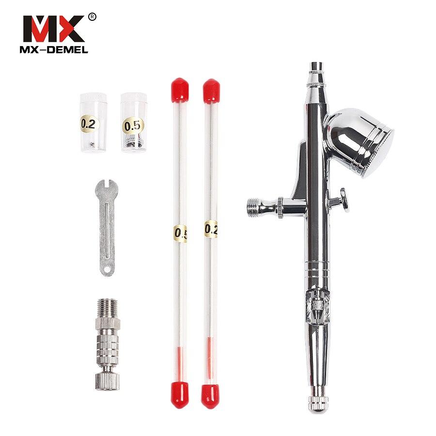 MX-DEMEL 0.2mm/0.3mm/0.5mm Aérographe Peinture Pistolet Ensemble Portable Alimentation Par Gravité Double Action Airbrush Pulvérisation de peinture Outils