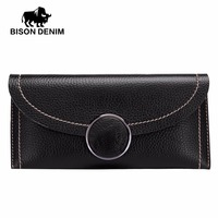 BISON DENIM Fashion Women Wallets Slim Genuine Leather Lady Hasp Clutch Purse Wallet