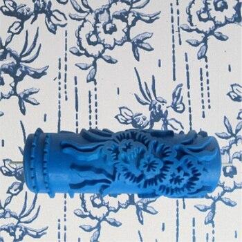 Аксессуары для инструментов-5-дюймовый 3D резиновый ролик для рисования стен, синий ролик для украшения стен без ручки, 075Y