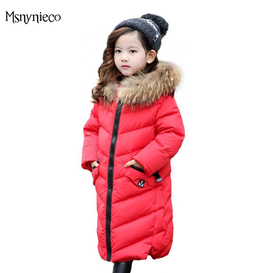 Winter Girls Coat Warm Jacket  2017 Fashion Casual Children Down Outerwear  Long Thicken Hooded Teenage Girl Kids Coats Parkas girls down coats girl winter collar hooded outerwear coat children down jackets childrens thickening jacket cold winter 3 13y